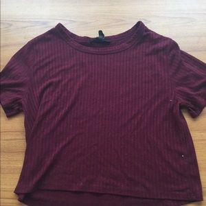 Forever21 Maroon Ribbed Crop Top